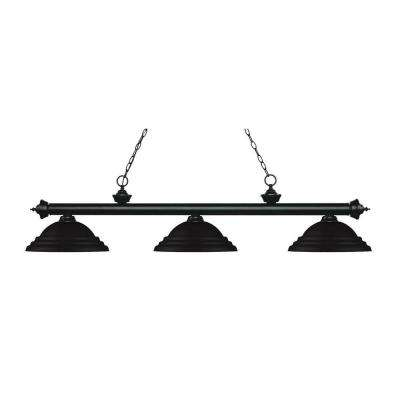 Bryant 3-Light Matte Black Island Light with Matte Black Metal Shades