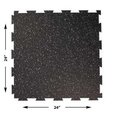 2 ft. W x 2 ft. L Black/Gray Interlocking Recycled Rubber Flooring (24 sq. ft./Pack)