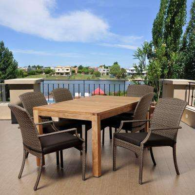 Presley 7-Piece Teak Rectangular Patio Dining Set with Grey Cushions