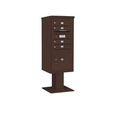 3400 Horizontal Series 4-Compartment 1-Parcel Locker Pedestal Mount Mailbox