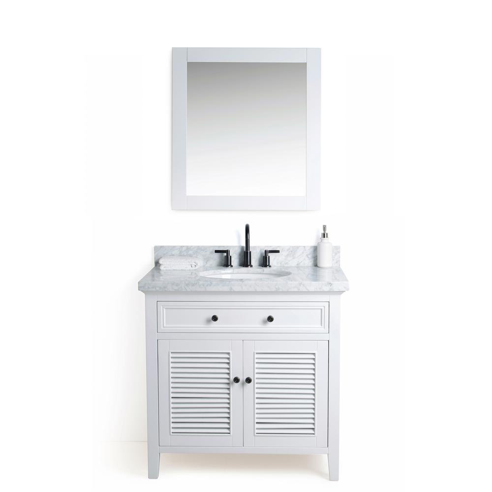 Legion Furniture 36 in. W x 22 in. D Vanity in White with Cararra Marble Vanity Top in White and Gray with White Basin and Mirror