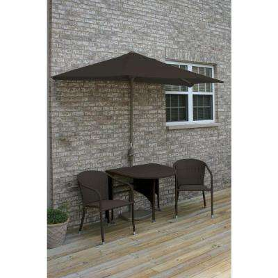 Terrace Mates Genevieve 5-Piece Java Patio Bistro Set with 9 ft. Chocolate Olefin Half-Umbrella