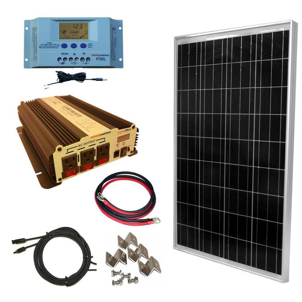 WindyNation 100-Watt Off-Grid Polycrystalline Solar Panel Kit with 1500-Watt VertaMax Power Inverter