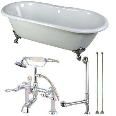 Classic Double Ended 5.5 ft. Cast Iron Clawfoot Bathtub in White and Faucet Combo in Chrome