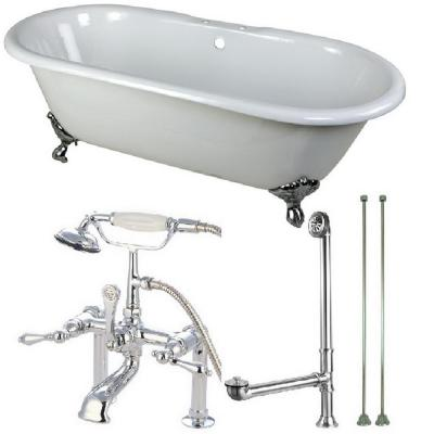 Classic Double Ended 66 in. Cast Iron Clawfoot Bathtub in White and Faucet Combo in Chrome