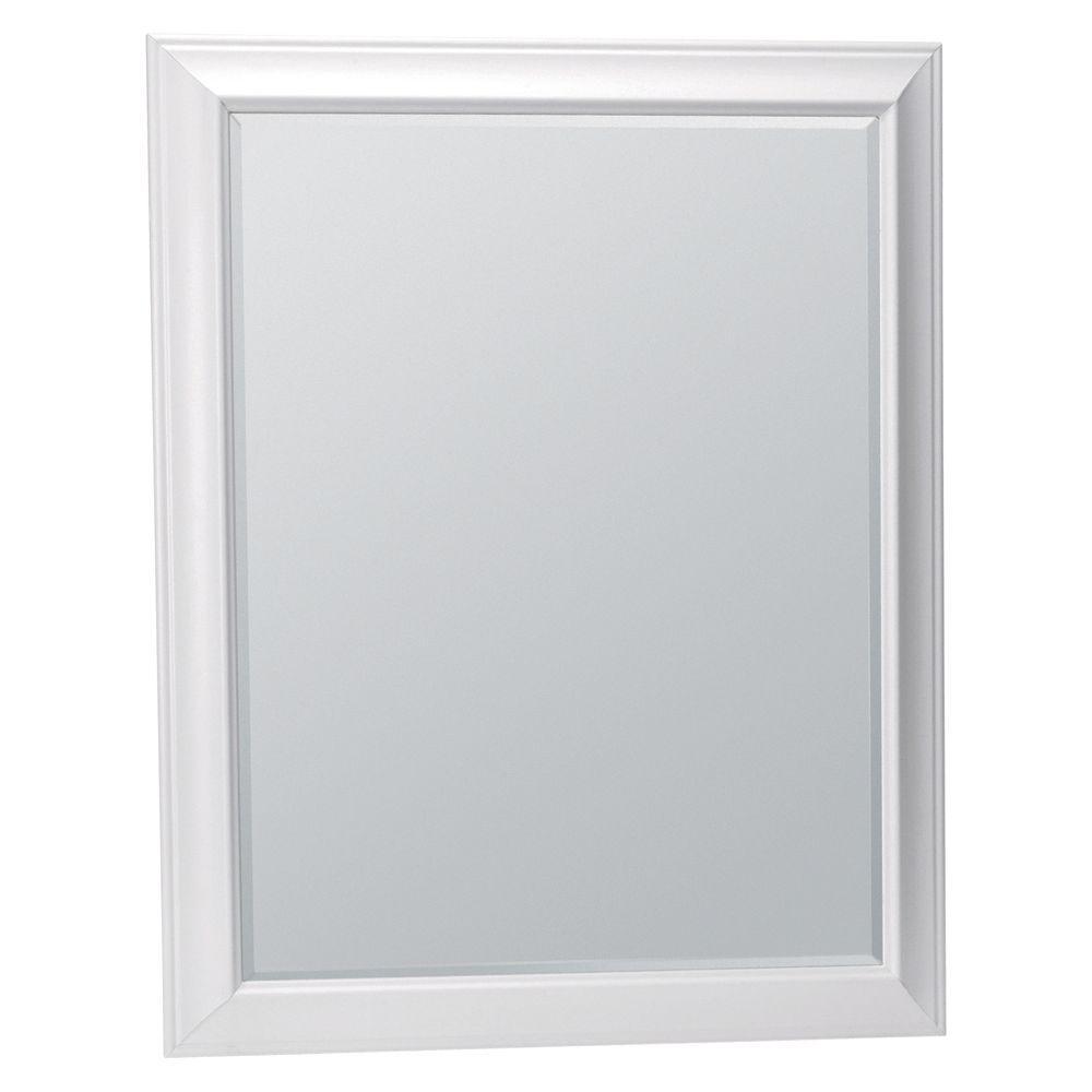 Glacier Bay Hampton 29 in. x 35 in. Framed Vanity Mirror in White