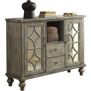 Velika 48 in. Weathered Gray Standard Rectangle Wood Console Table with 2-Drawers