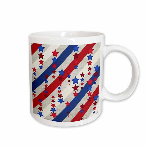 3dRose Beverly Turner Patriotic Design Stars and Stripes in Red, White,