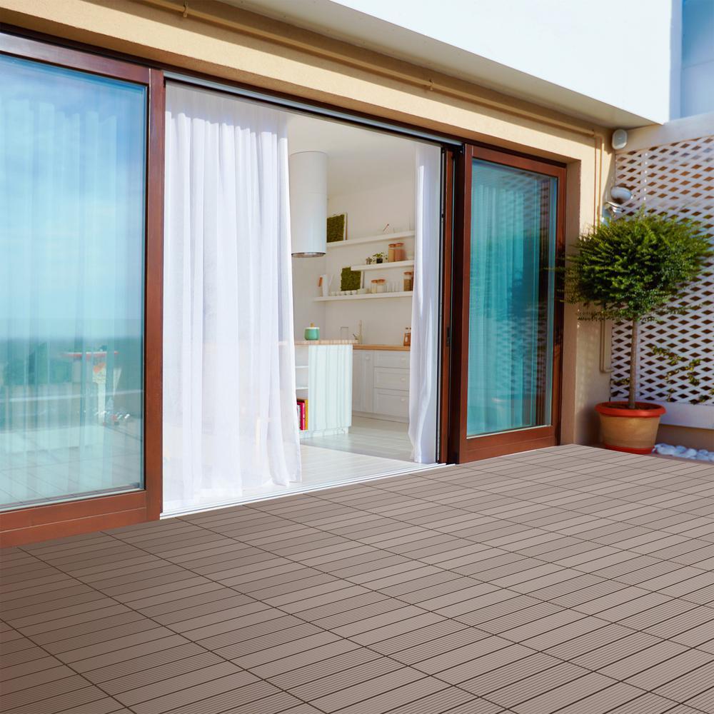 12 in. x 12 in. Brown Outdoor Interlocking Slat Polypropylene Patio and Deck Tile Flooring (Set of 6)