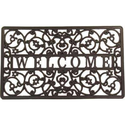 Wrought Iron Collection Black Scroll 30 In. X 18 In. Rubber Outdoor/Indoor