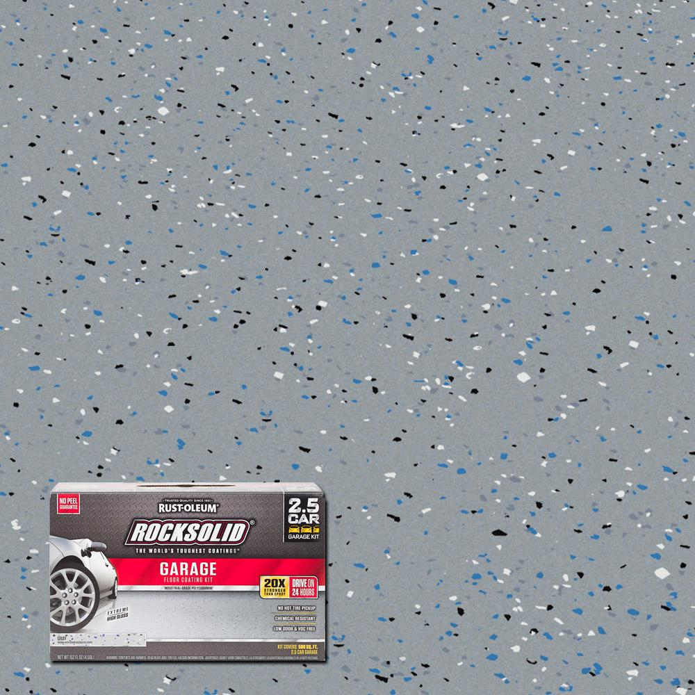 Rust Oleum Rocksolid 152 Oz Gray Polycuramine 2 5 Car Garage Floor Kit