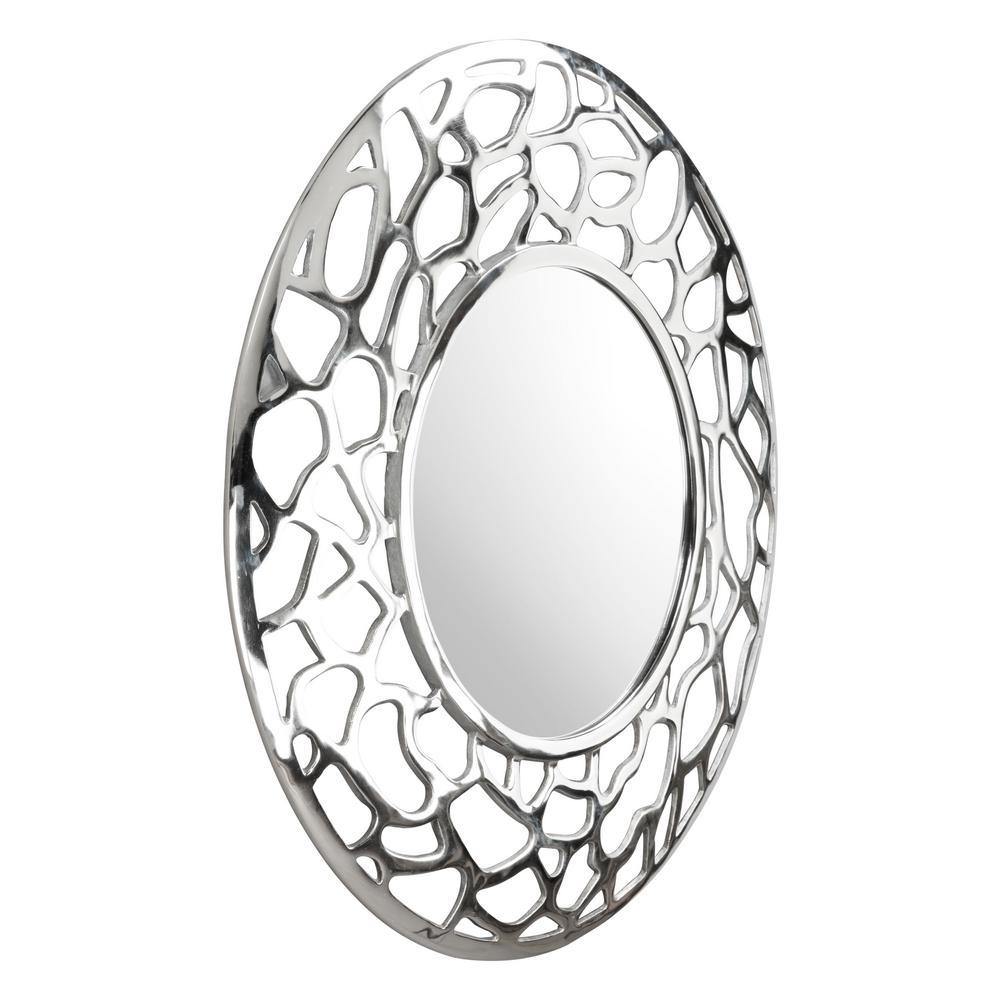 Medium Round Aluminum Modern Mirror (30.3 in. H x 30.3 in. W)