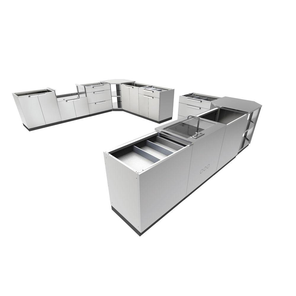 Stainless Steel Classic 11-Piece 362.25x36x24 in. Outdoor Kitchen Cabinet Set
