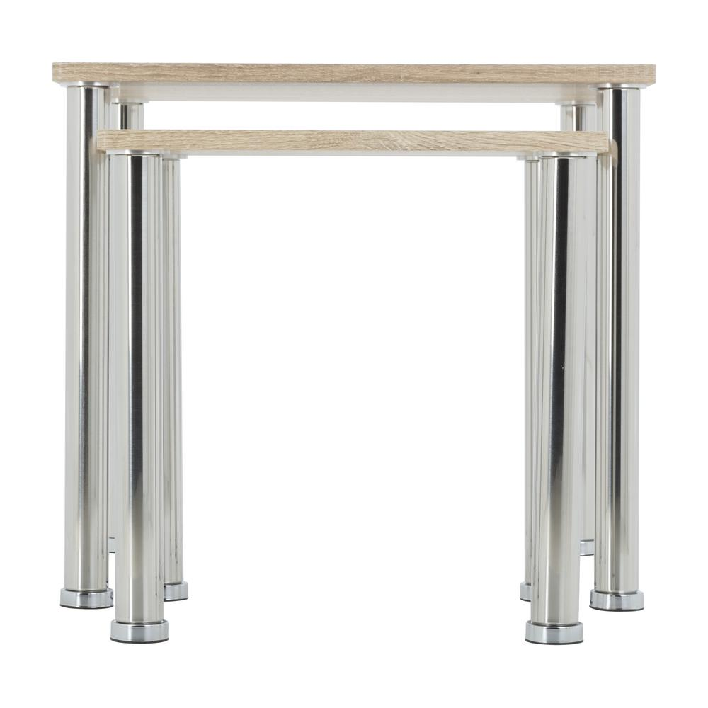 AVF Whitewashed Oak Ad Chrome Square Side Table/Lamp Table/End Tables (Set  Of 2) T32OW A   The Home Depot