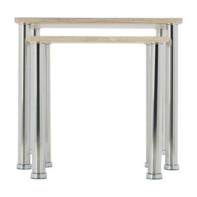 Whitewashed Oak ad Chrome Square Side Table/Lamp Table/End Tables (Set of 2)