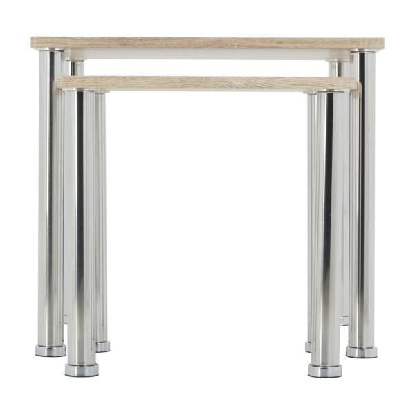 AVF Whitewashed Oak ad Chrome Square Side Table/Lamp Table/End Tables (Set of 2)