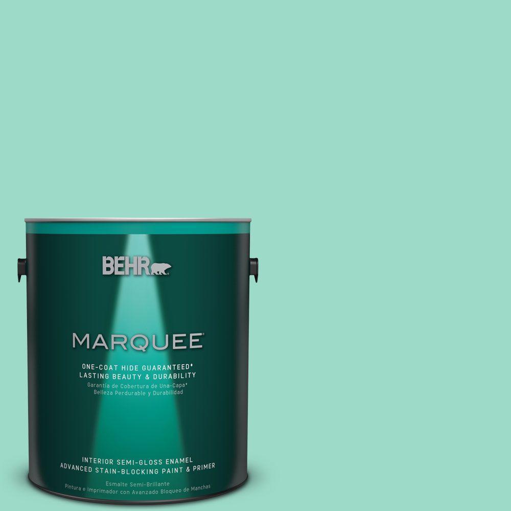 1 gal. #HDC-SP16-07 Isabella's Aqua Semi-Gloss Enamel Interior Paint