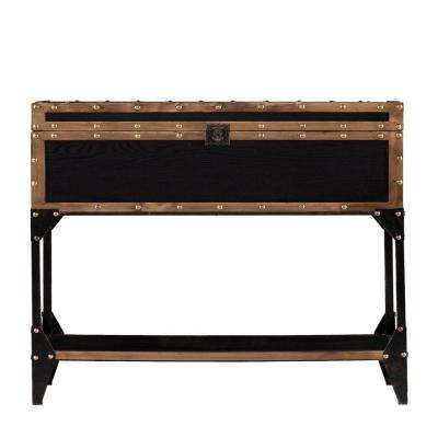 Irving Antique Black and Dark Antique Bronze Trunk Storage Console Table