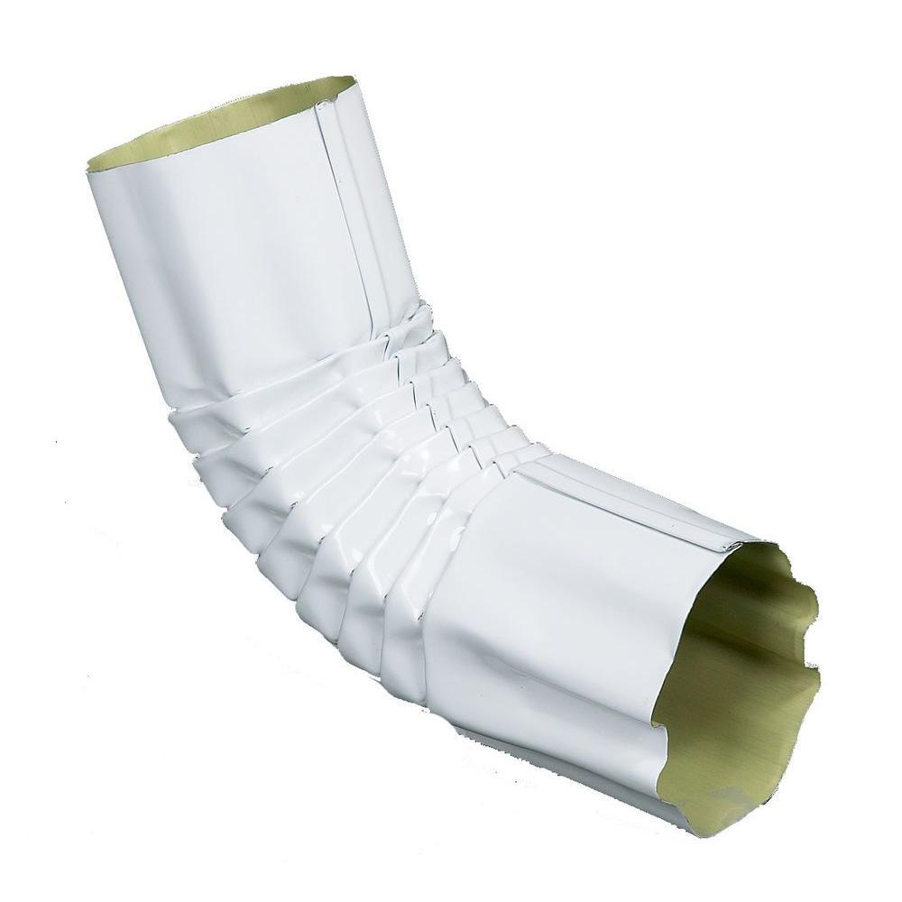 4 in. Half Round Hi-Gloss 80 Degree White Round Corrugated 75 Degree Elbow