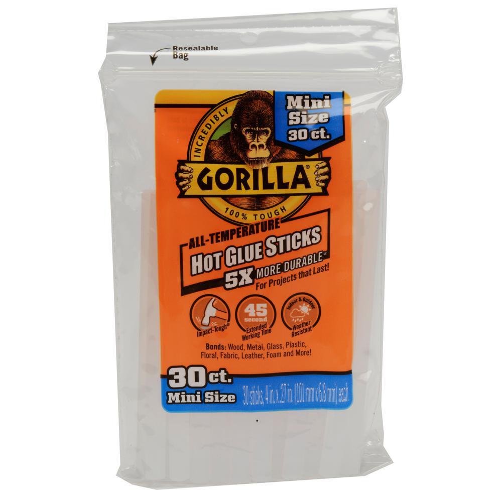 Gorilla 4 in. Mini Hot Glue Sticks (30-Count)