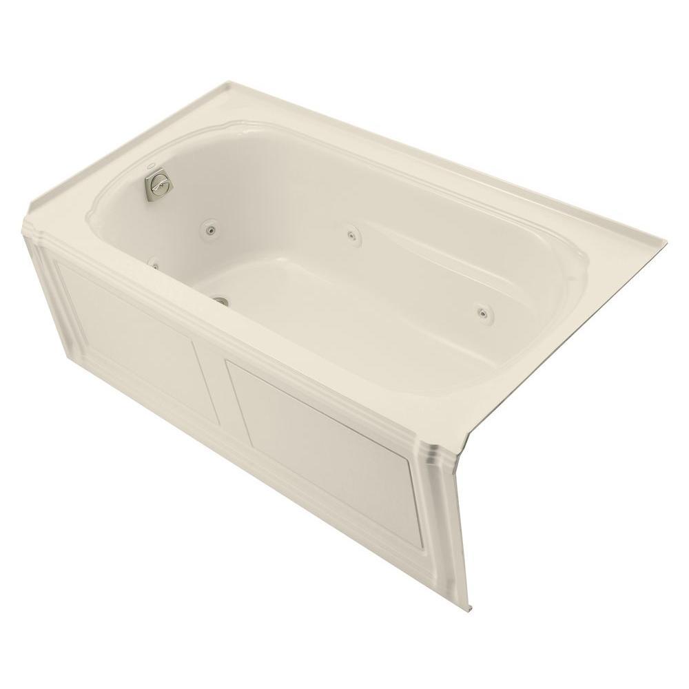KOHLER Portrait 5 ft. Acrylic Left Drain Rectangular Alcove Whirlpool Bathtub in Almond