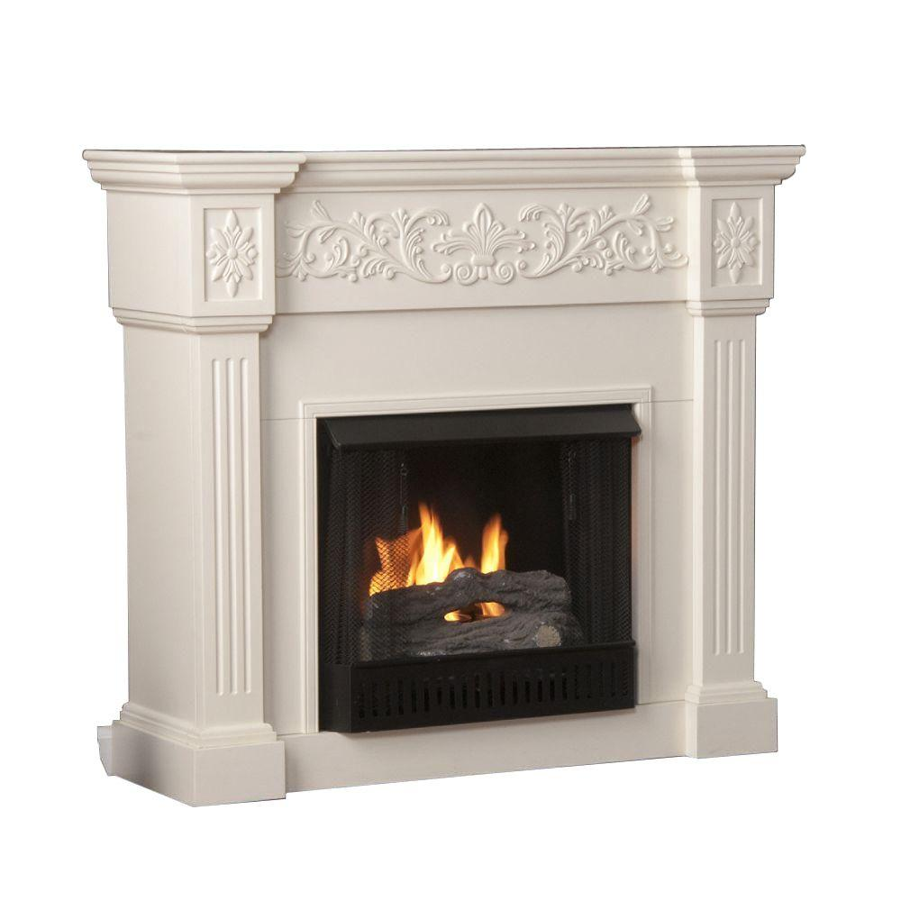Southern Enterprises Calvert 45 in. Gel Fuel Fireplace in Ivory