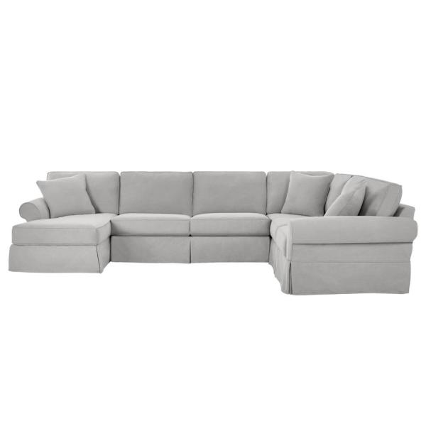 Hillbrook Essence Sky Polyester 6-Seater U-Shaped Right-Facing Sectional Sofa with Removable Cushions