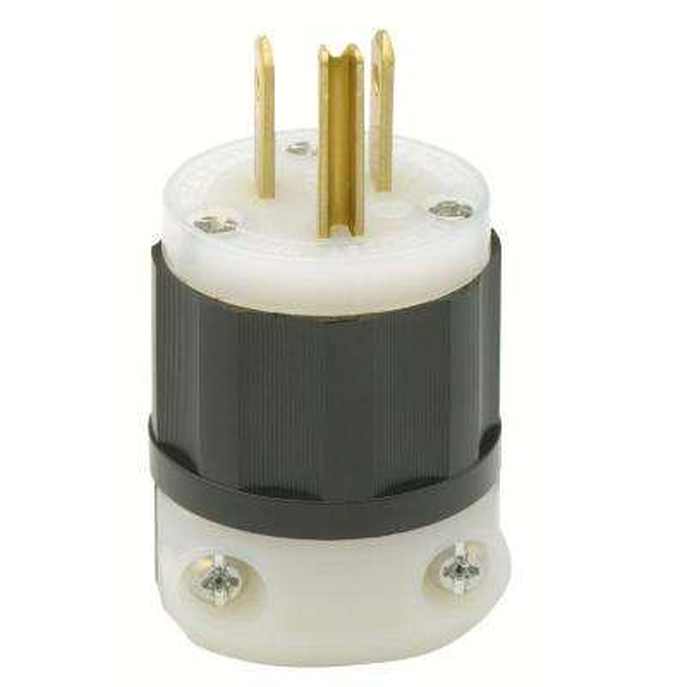 15-Amp 125-Volt Industrial Grade Straight Blade Plug In Black/White