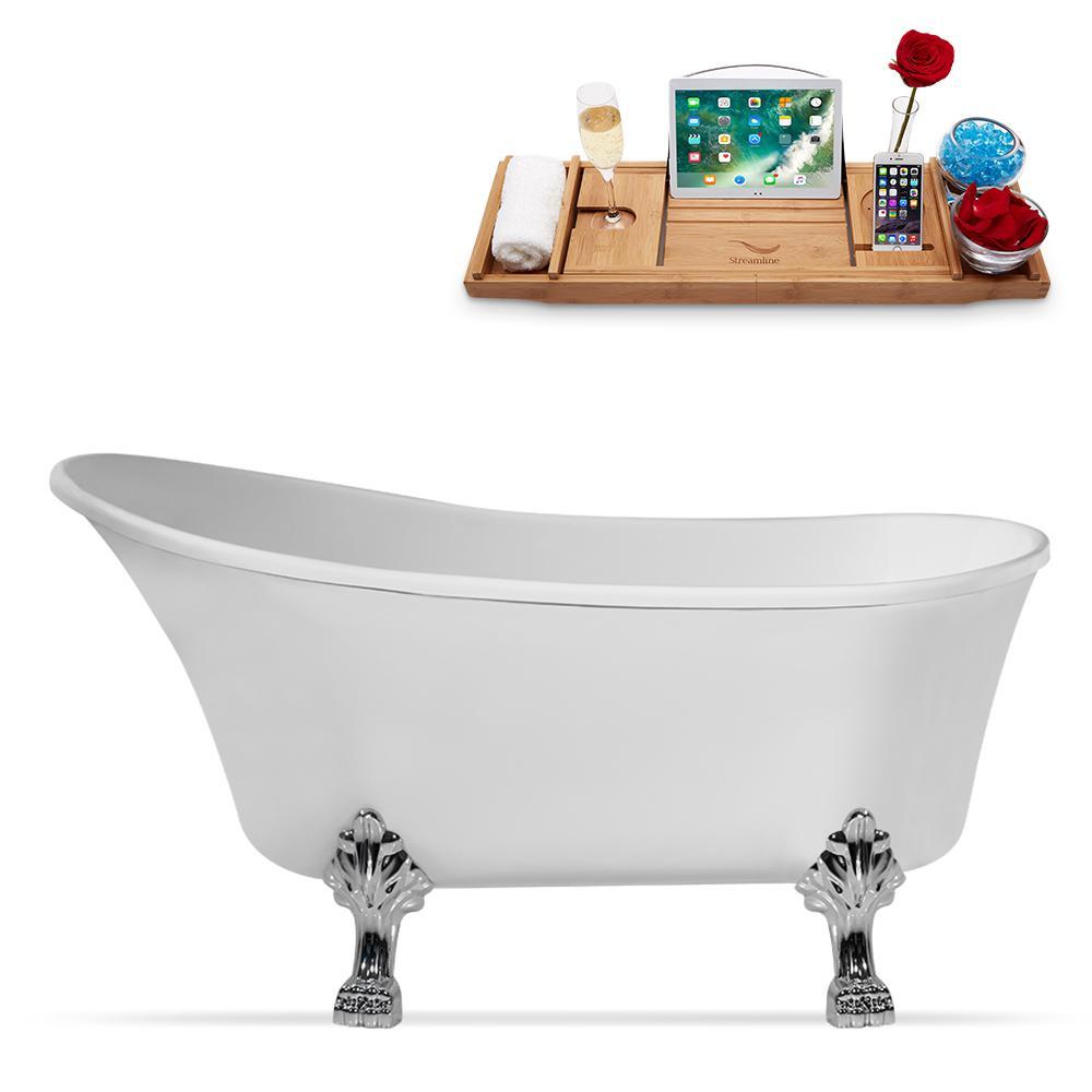 63 in. Acrylic Clawfoot Non-Whirlpool Bathtub in White