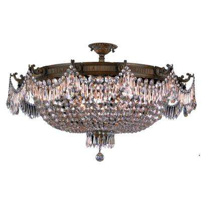 Winchester 12-Light Antique Bronze Semi-Flushmount with Clear Crystal