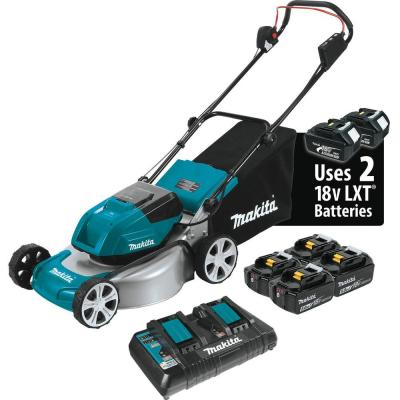 18 in. 18-Volt X2 36-Volt 5.0Ah LXT Lithium-Ion Cordless Steel Deck Walk Behind Push Lawn Mower Kit with 4 Batteries