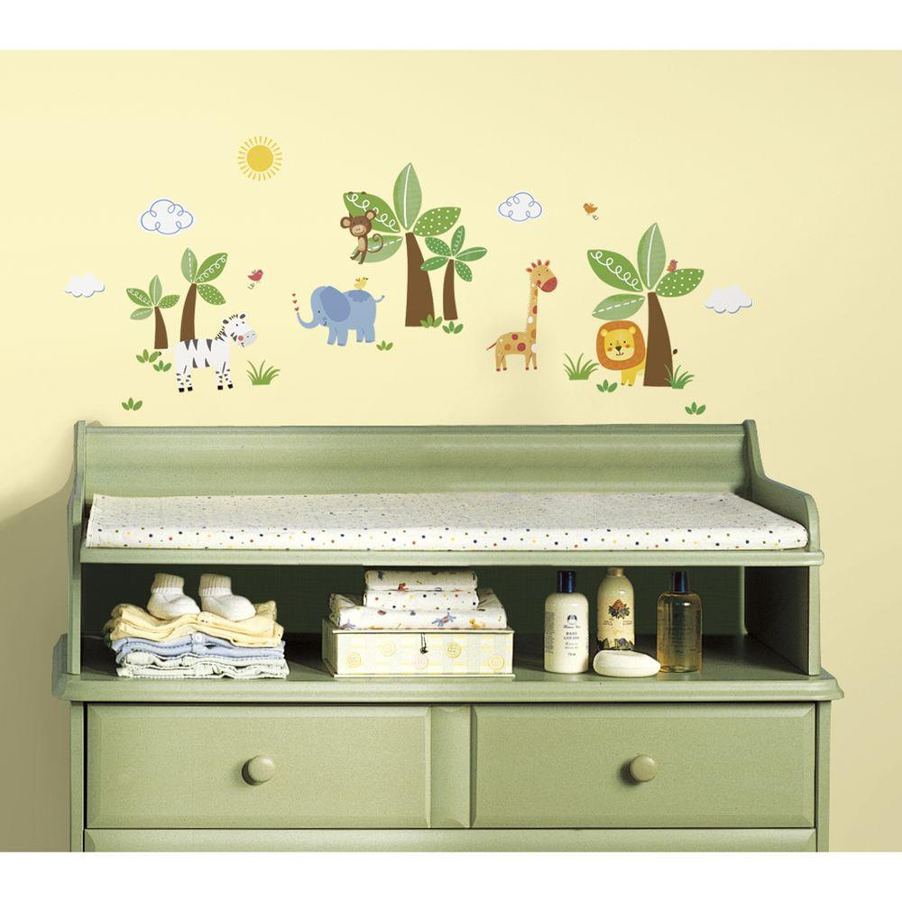RoomMates 5 in x 11.5 in. Jungle Friends Peel and Stick Wall Decal ...