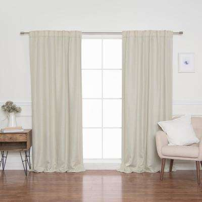 """84"""" Ivory Woven Faux Linen Back Tab Curtains with Blackout Lining"""