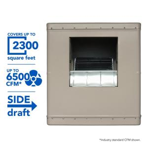 Click here to buy Champion Cooler 6500 CFM Side-Draft Wall/Roof Evaporative Cooler for 2300 sq. ft. (Motor Not Included) by Champion Cooler.