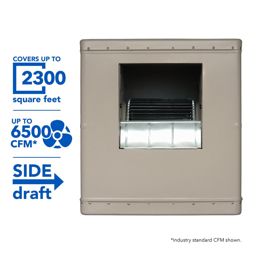 6500 CFM Side-Draft Wall/Roof Evaporative Cooler for 2300 sq. ft. (Motor