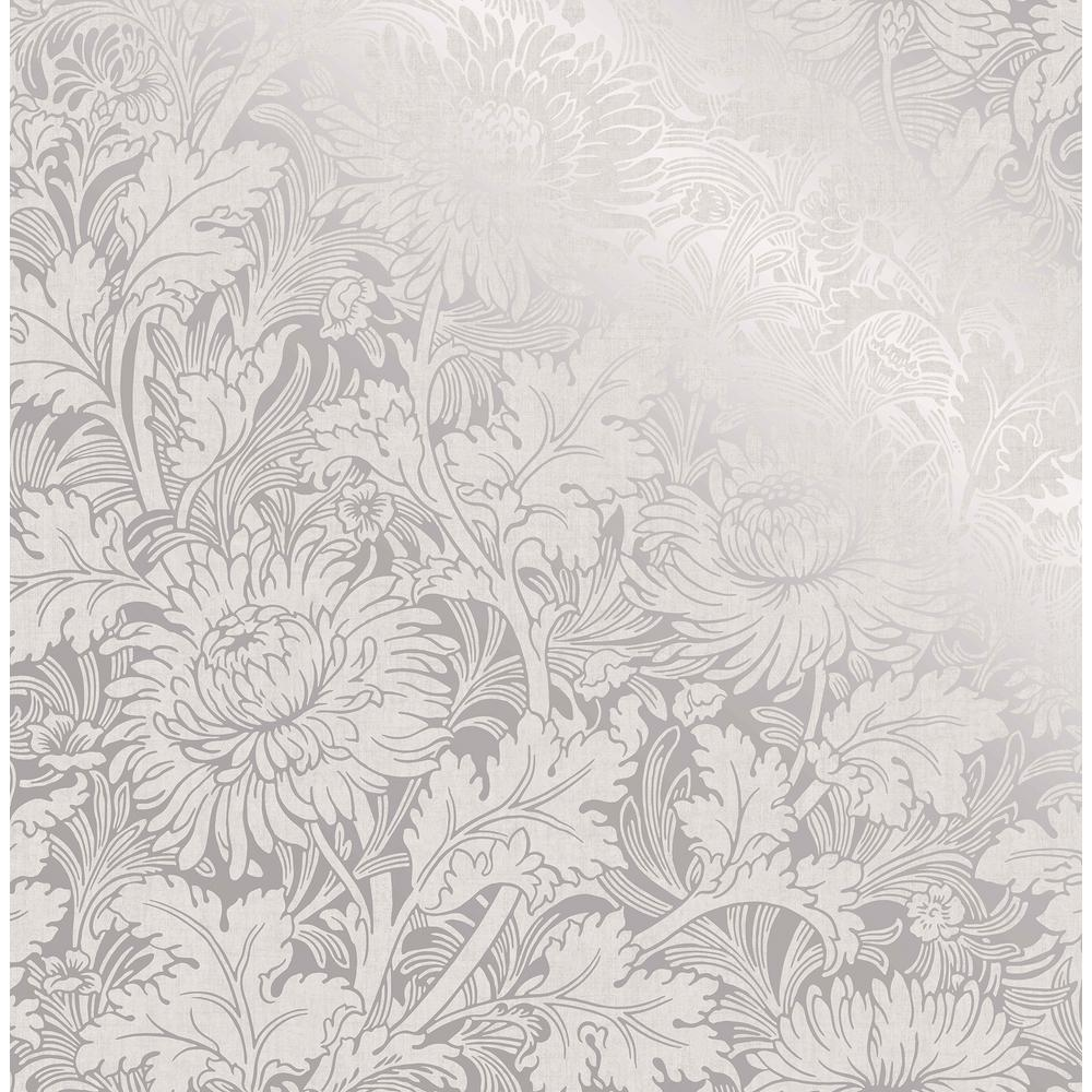 Zinnia Silver Floral Paper Strippable Roll (Covers 56.4 sq. ft.)
