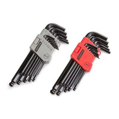 Inch/Metric Long Arm Ball End Hex Key Wrench Set (26-Piece)