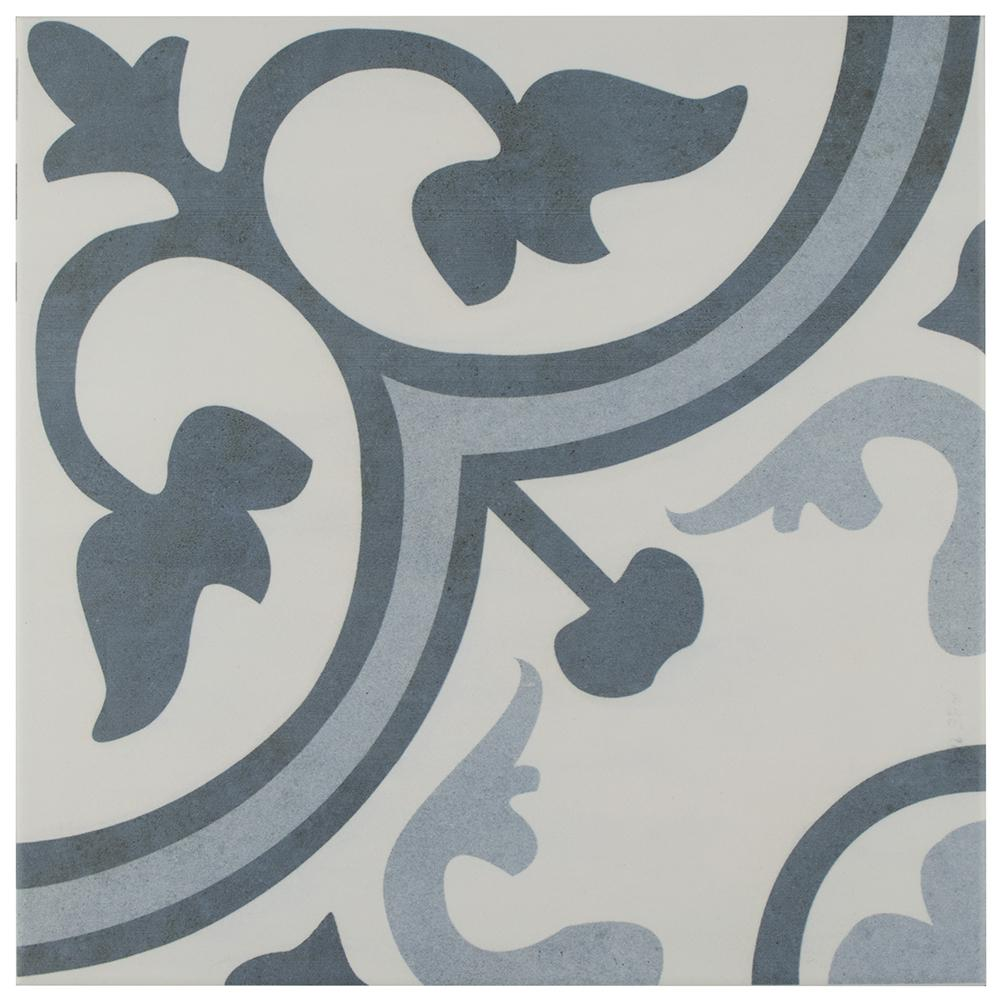 Merola Tile Amberes Azul Encaustic 12-3/8 in. x 12-3/8 in. Ceramic Floor and Wall Tile