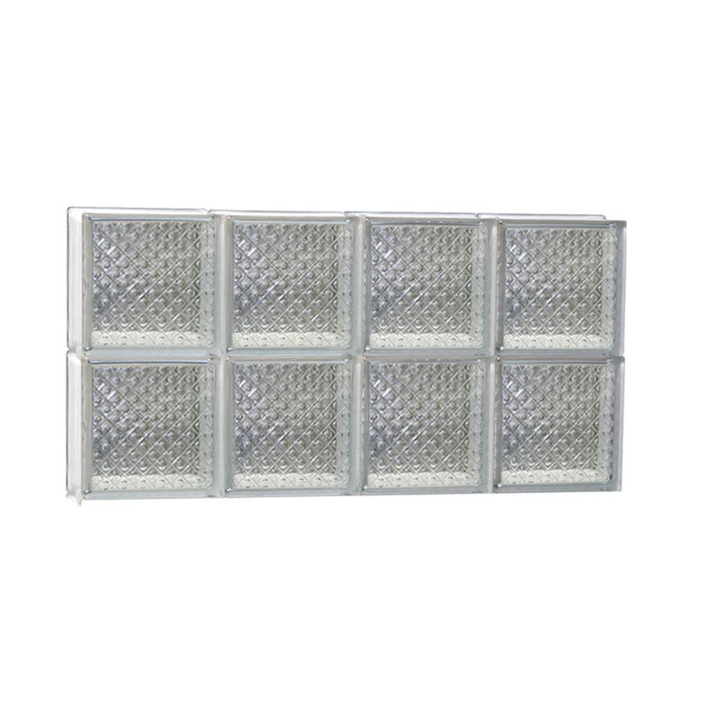 Clearly Secure 31 in. x 15.5 in. x 3.125 in. Non-Vented Diamond Pattern Glass Block Window