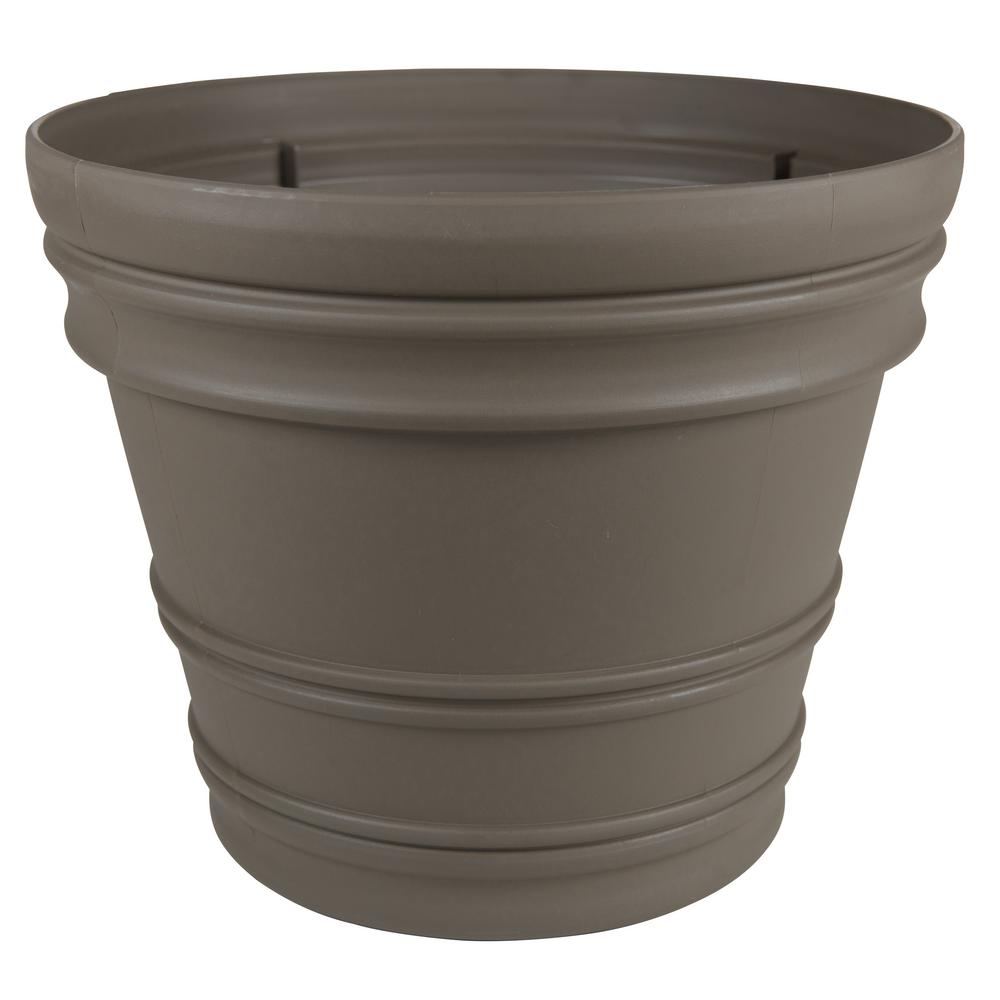 Rolled Rim 16 in. Peppercorn Plastic Planter