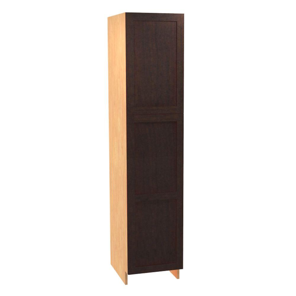 5f90bd787b76 Home Decorators Collection. Elice Ready to Assemble 18 x 84 x 21 in. Pantry/ Utility Cabinet with 2 Soft Close Doors in Mocha