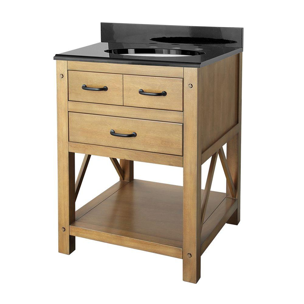 null Avondale 25 in. Vanity in Weathered Pine with Granite Vanity Top in Black