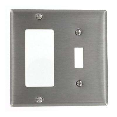 2-Gang 1-Toggle 1-Decora Standard Size Stainless Steel Combination Wall Plate, Stainless Steel