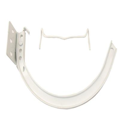 5 in. Hi-Gloss White Half-Round Aluminum Hangers #10 Combination Circle and Shank with Spring Clip