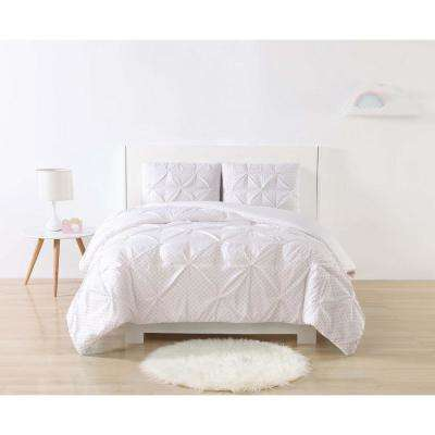 Anytime Dot Pinch Pleat Pink Twin Extra Long Comforter Set