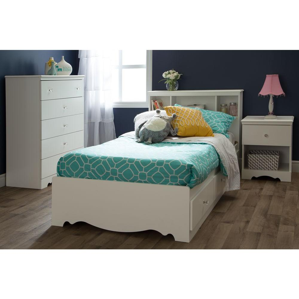 South Shore Crystal 1 Drawer Pure White Nightstand