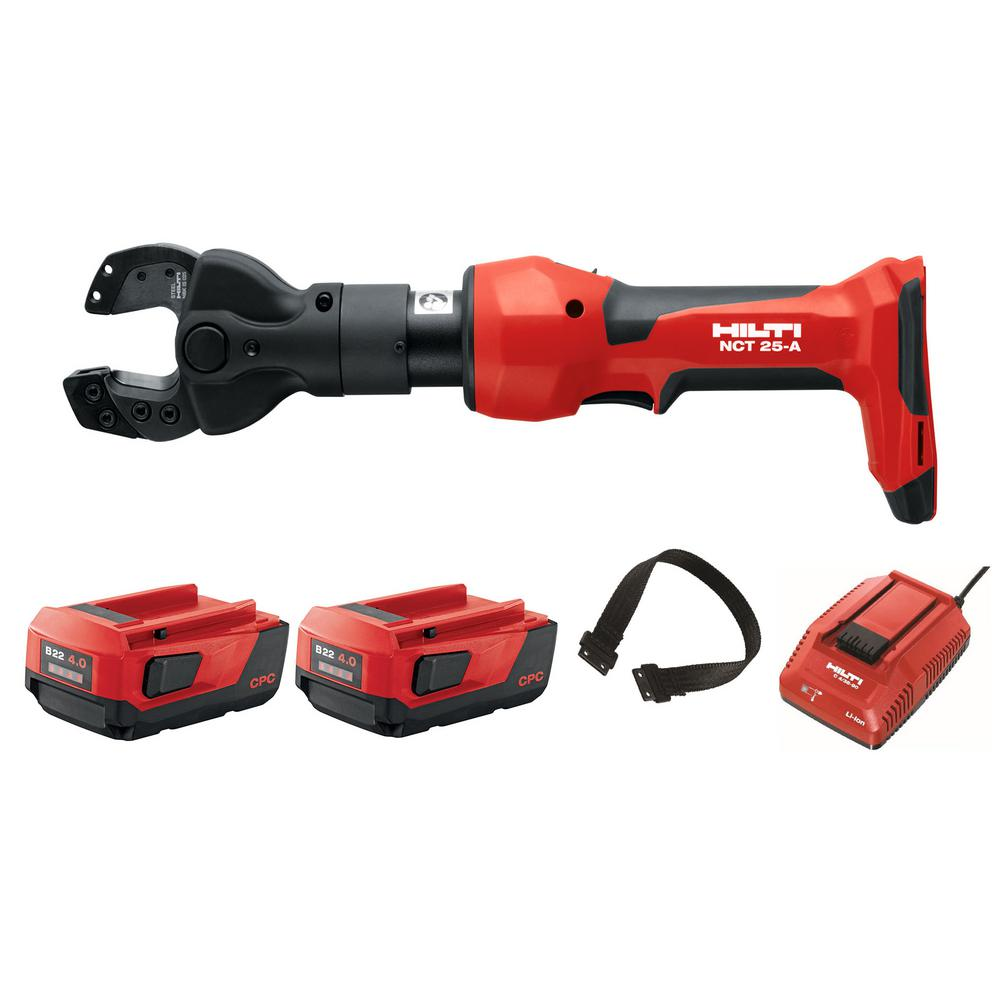 Hilti 22-Volt NCT 25-A Cordless ACSR and 3/8 in. Guy Wire Cutter with 2 B22/4.0 Li-Ion Battery Packs, Charger and Strap