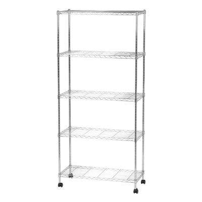 14 in. x 32 in. x 69 in. Wide Wire Metal 5-Tier Shelving Unit