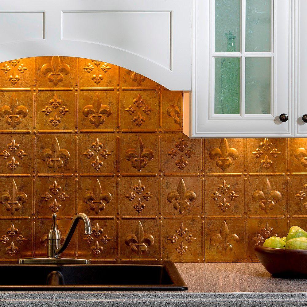 Fasade 24 in. x 18 in. Fleur de Lis PVC Decorative Tile Backsplash in Muted Gold