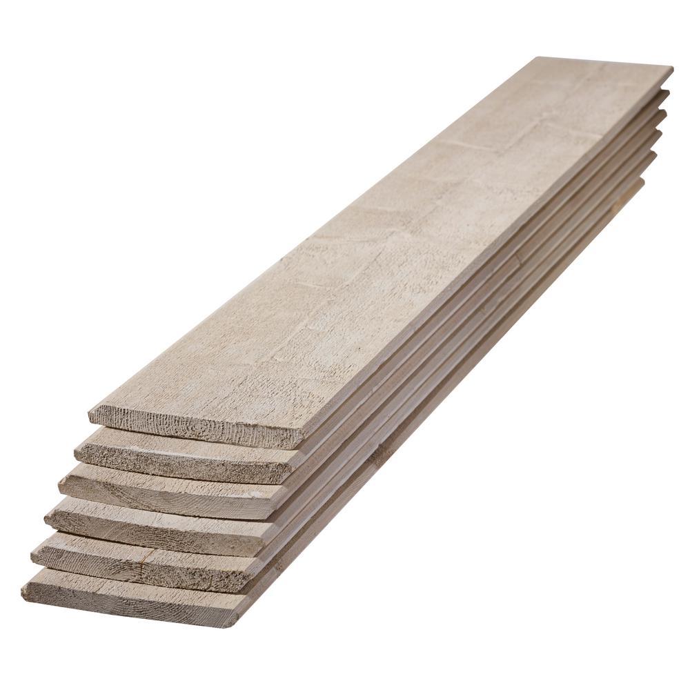 1 in. x 8 in. x 6 ft. Premium Primed Gray Spruce Shiplap Board (6-Pack)